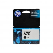 Cartucho de Tinta HP 670 Preto 7,5ml