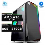 Computador Gamer A10 9700, 8GB DDR4, HD 240GB, 400W