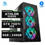 Computador Gamer AMD Athlon 3000G, SSD 240GB, 8GB DDR4, 400W, GTX 750TI 2GB