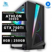 Computador Gamer AMD Athlon 3000G, SSD 250GB, 8GB DDR4, 420W, GTX 750Ti 4GB