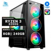 Computador Gamer AMD Ryzen 3 3200g, SSD 240GB, 8GB DDR4, 400W