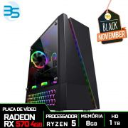 Computador Gamer AMD Ryzen 5 2600, HD 1TB, 8GB DDR4, 500W, RX 570 4GB