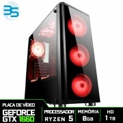 Computador Gamer AMD Ryzen 5 3600, HD 1TB, 8GB DDR4, 500W, GTX 1660 6GB Super