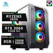 Computador Gamer AMD Ryzen 5 3600, HD 500gB + SSD250, 8GB DDR4, 500W, RTX 3060 OC 12GB