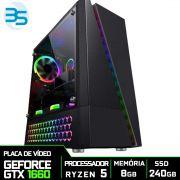 Computador Gamer AMD Ryzen 5 3600, SSD 240GB, 8GB DDR4, 500W, GTX 1660 6GB Super