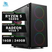 Computador Gamer AMD Ryzen 5 5600g, SSD 240GB, 16GB DDR4, 500W