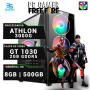 Computador Gamer Athlon 3000G, 8GB DDR4, GT 1030 2GB, HD 500GB, 420W