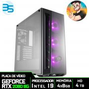 Computador Gamer do Chapax Processador Intel i9 9900K, HD 4TB, 32GB DDR4, 1200W, RTX 2080