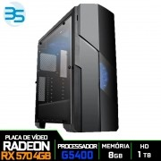 Computador Gamer Intel G5400 3.70GHZ 4MB, 8GB DDR4, HD 1TB, 500W, RX 570