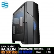 Computador Gamer Intel i3 9100F, 8GB DDR4, HD 1TB, 500W, RX 550 2GB
