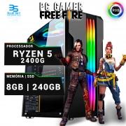 Computador Gamer Ryzen 5 2400G, 8GB DDR4, SSD 240GB, 420W
