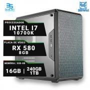 Computador Workstation Intel i7 10700K, SSD 240GB, HD 1TB, 16GB DDR4, 500W, RX 580 8GB