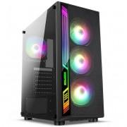 Gabinete Gamer Likete Dex RGB C/ 4 Coolers Vidro Temperado S/ Fonte