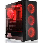 Gabinete Gamer Liketec W1 Hell's Vidro Temperado LED Vermelho Mid Tower S/Fonte