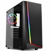 Gabinete Gamer Lion USB 3.0 Preto RGB MCA-LION/RGB C/ Lateral Vidro