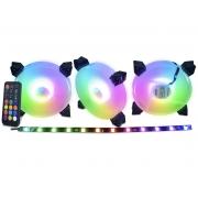 Kit 3 Cooler Fan KMEX 120mm ARGB RGB Rainbow White AK-AAF1