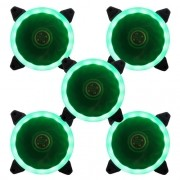 Kit 5 Cooler Ventoinha Bluecase Fan Ring BlueCase 12CM Verde BFR-05G
