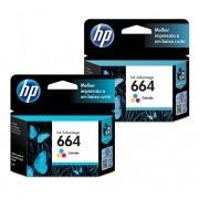 kit Cartucho HP 664 Colorido Original (F6V28AB) Para HP