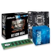 Kit Processador Intel Pentium G4560 3,5GHz, Placa mãe H110M HG4, 4GB