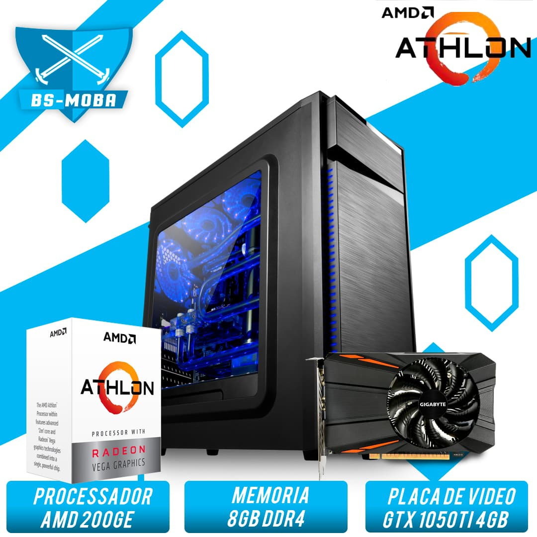 Bs Gamer AMD Athlon 200Ge 3.2GHZ 4MB, 8GB DDR4, HD 1TB, 500W, GTX 1050Ti 4GB