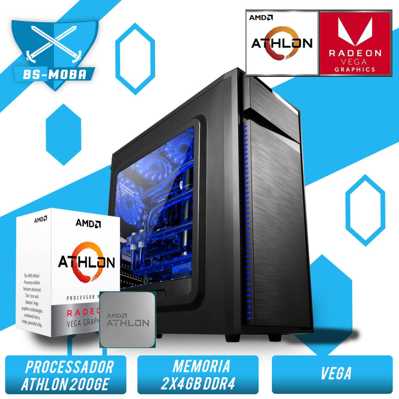 Bs Gamer AMD Athlon 200GE 3.2GHZ, 8GB DDR4, HD 1TB, 500W