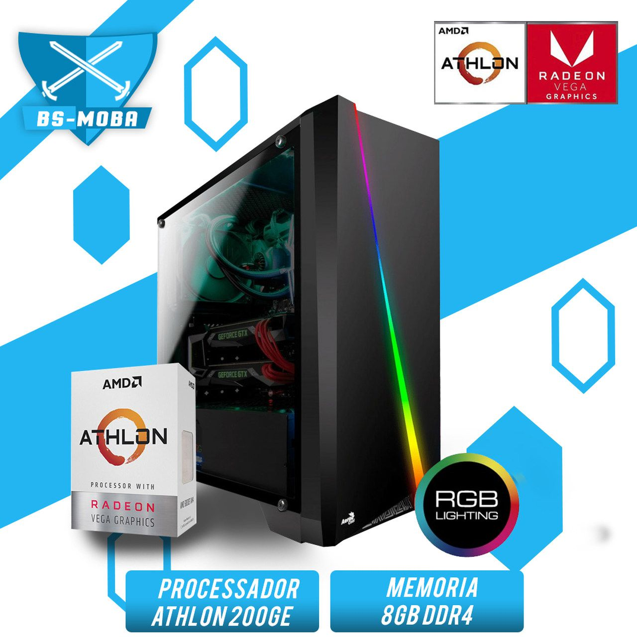 Bs Gamer AMD Athlon 200GE 3.2GHZ, 8GB DDR4, HD 1TB, 400W