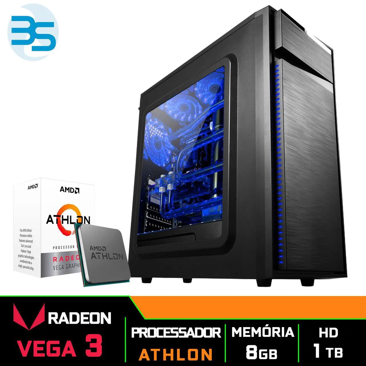Bs Gamer AMD Athlon 3000G, 8GB DDR4, HD 1TB, 400W