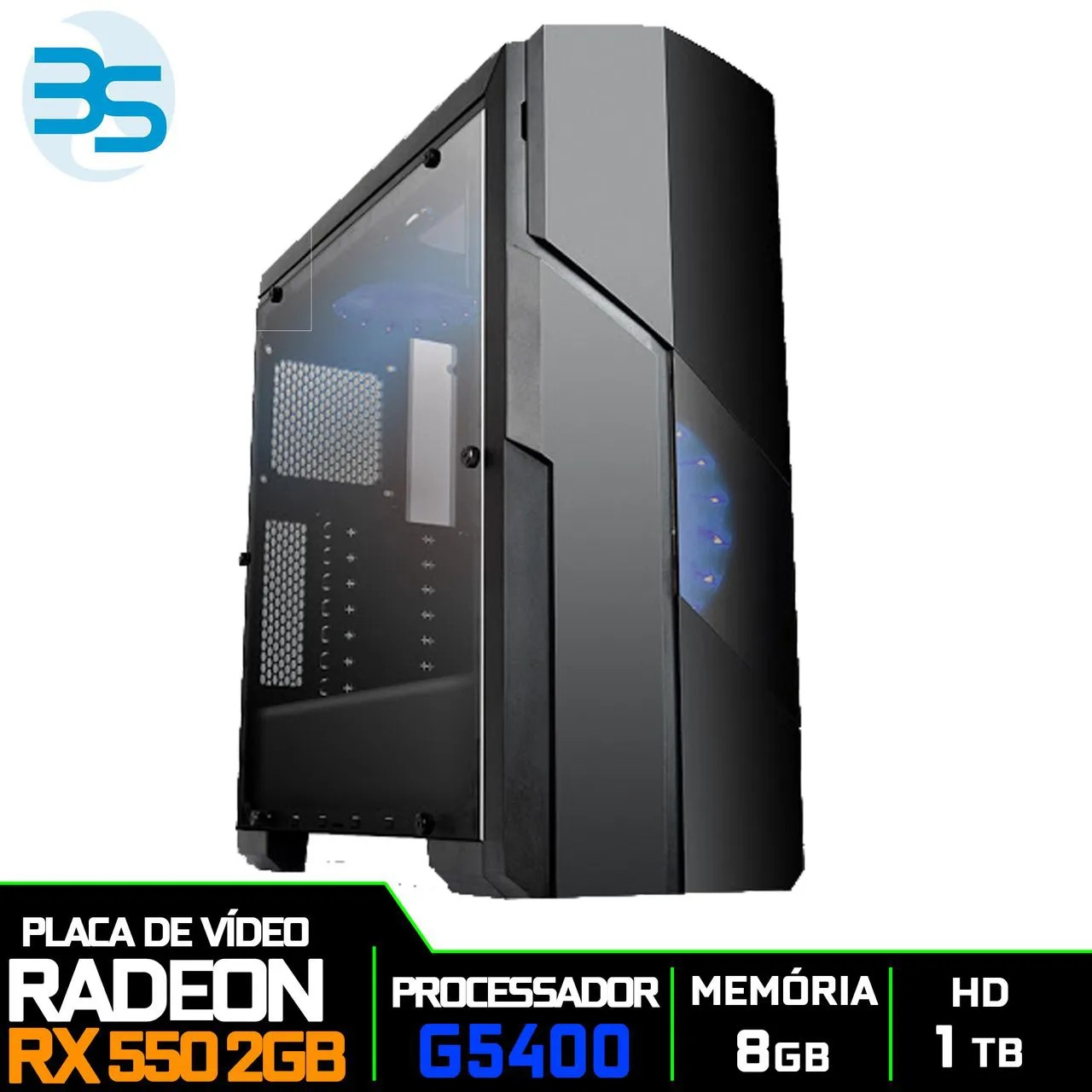 Bs Gamer Intel G5400 3.70GHZ 4MB, 8GB DDR4, HD 1TB, 400W, RX 550 2GB