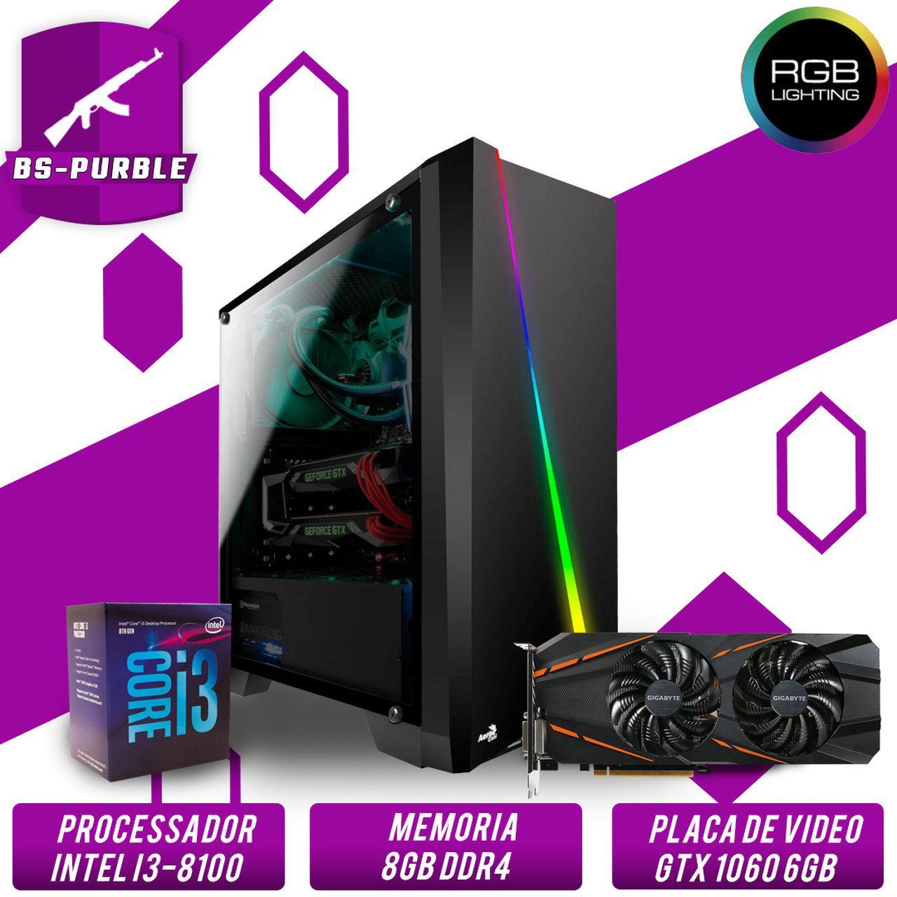 Computador Gamer Intel I3 9100F 3.6GHZ 8MB, 8GB DDR4, HD 1TB, 500W, GTX 1060 6GB Super