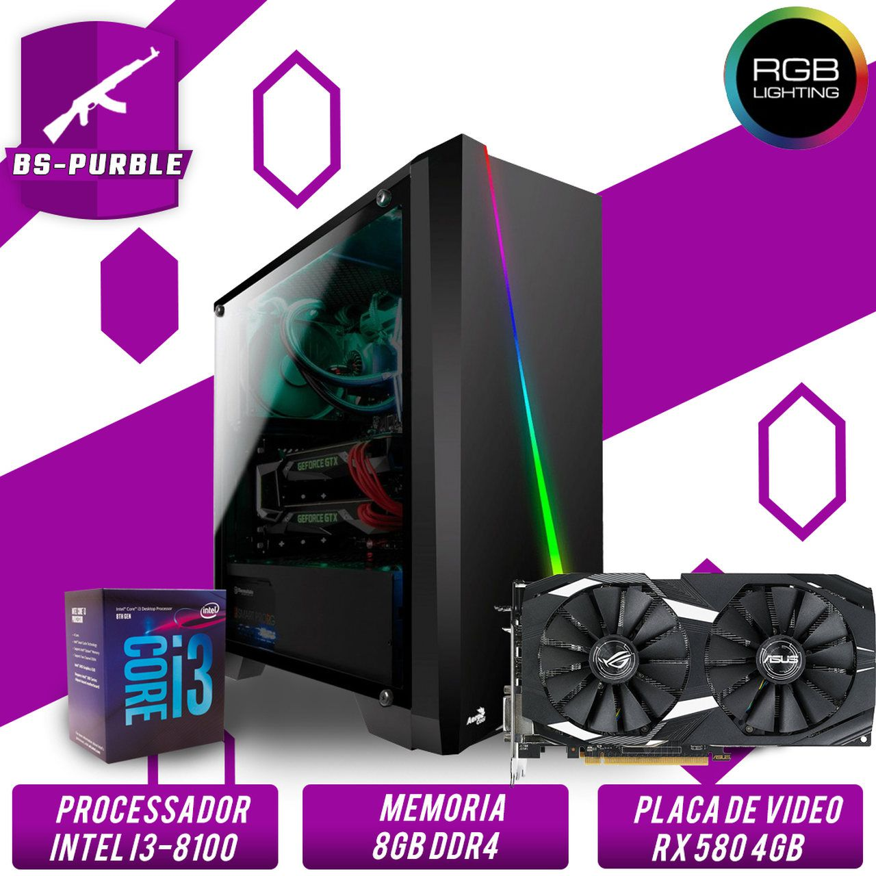 Bs Gamer Intel i3 8100, 8GB DDR4, HD 1TB, 500W, RX 580 4GB