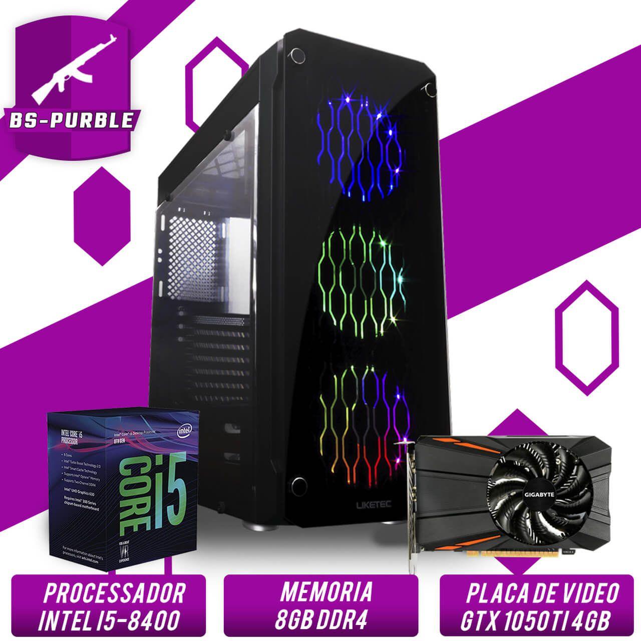 Bs Gamer Intel I5 9400F 9 Geração, 8GB DDR4, HD 1TB, 500W, GTX 1050 Ti