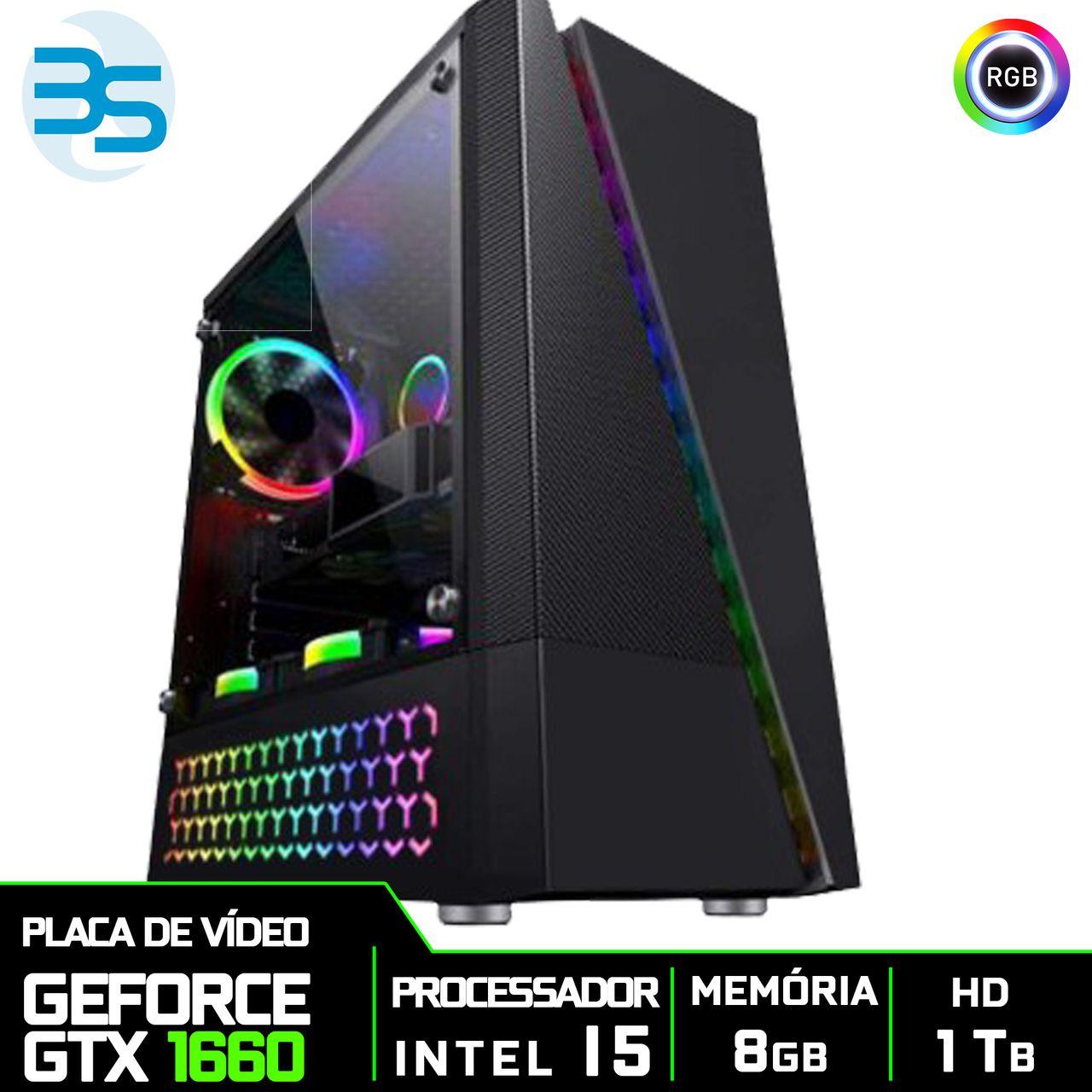 Bs Gamer Intel I5 9400F 2.9GHZ 9MB, 8GB DDR4, HD 1TB, 500W, GTX 1660 6GB