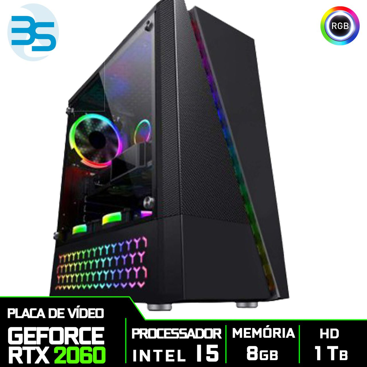 Bs Gamer Intel I5 9400F 2.9GHZ 9MB, 8GB DDR4, HD 1TB, 500W, RTX 2060 6 Gb