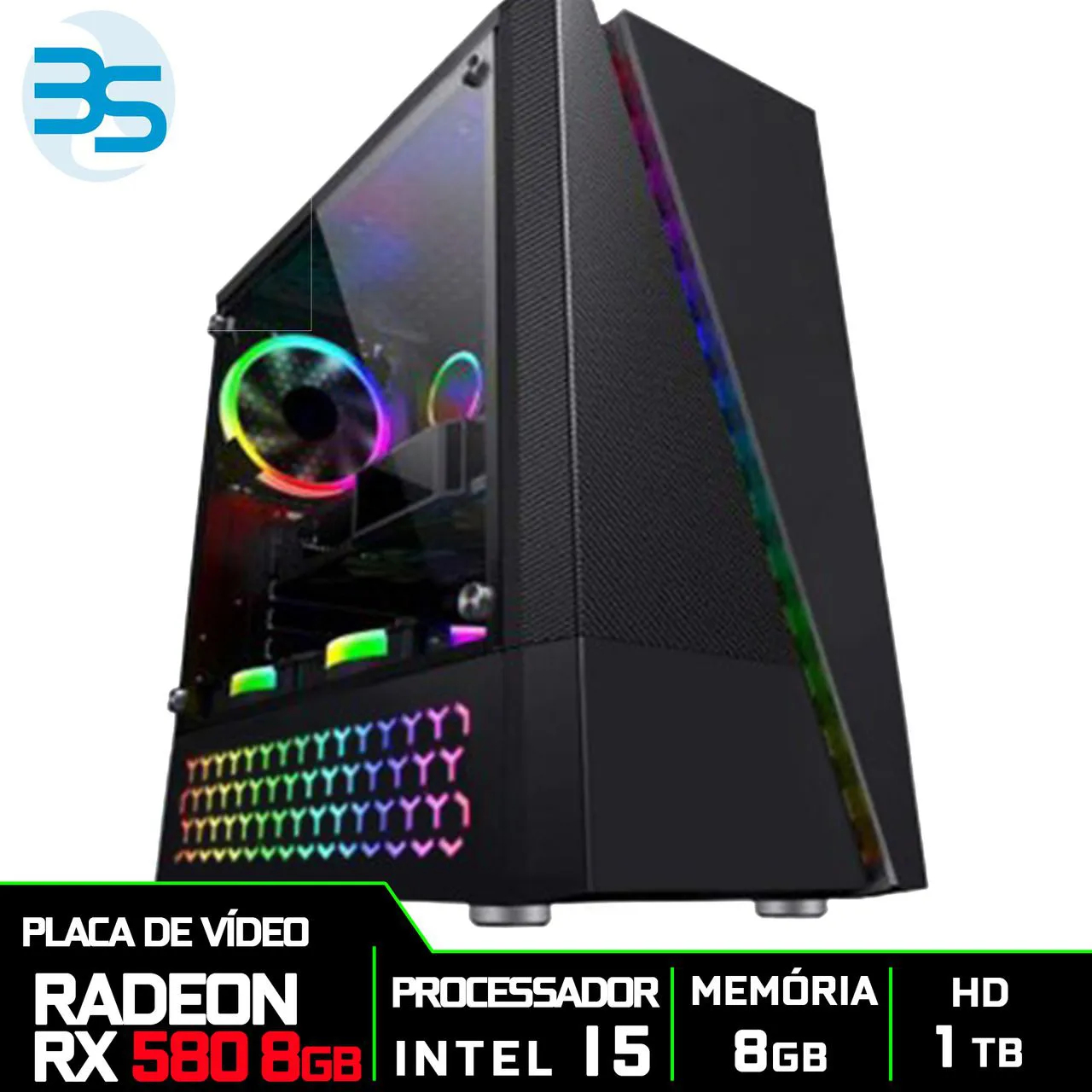 Bs Gamer Intel I5 9400F 2.9GHZ 9MB, 8GB DDR4, HD 1TB, 500W, RX 580 8GB