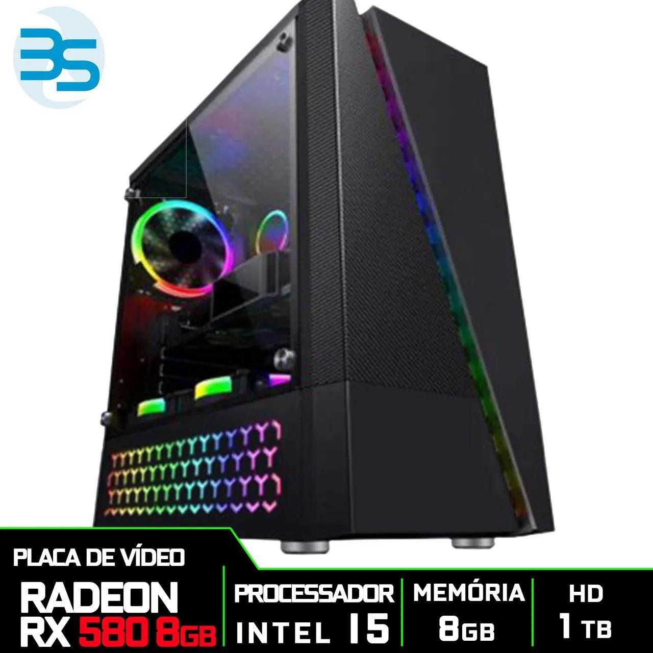 Bs Gamer Intel I5 9400F 2.9GHZ 9MB, 8GB DDR4, HD 1TB, 500W, RX 580 8GB
