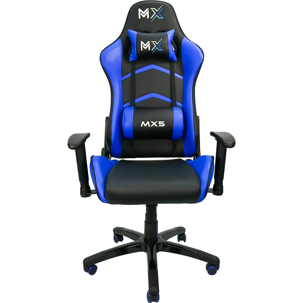 Cadeira Gamer MX5 Giratória, Encosto Reclinável de 180° - Preto/Azul