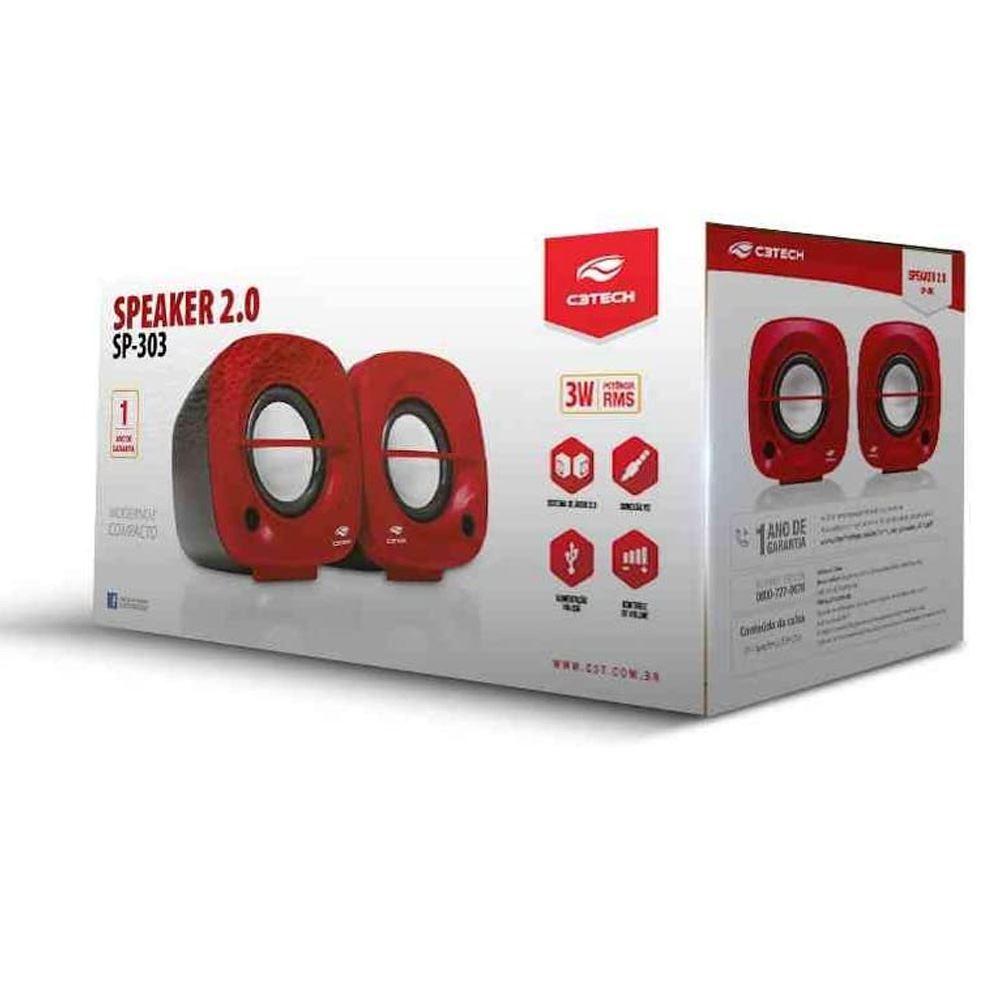 Caixa de som C3 Tech 2.0 3W RMS, Vermelha - SP303RD