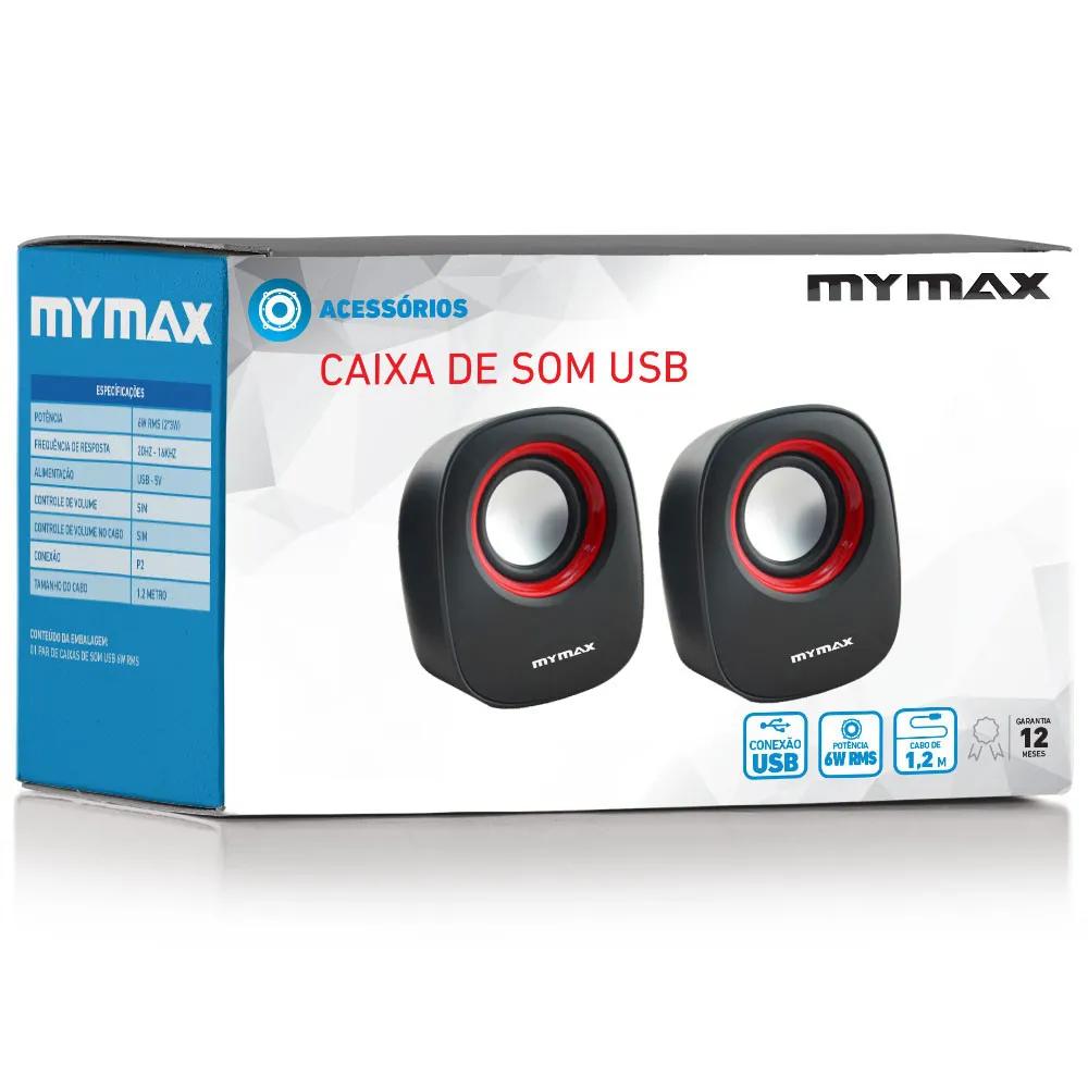 Caixa de Som MyMax 6W RMS USB/P2 Preto e Vermelho SPK-SP205/RD