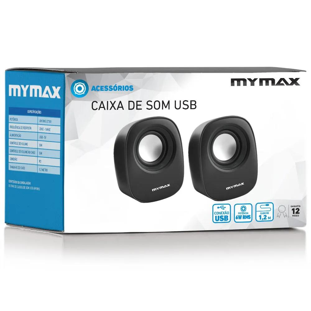 Caixa de Som MyMax 6W RMS USB/P2 Preto SPK-SP205/BK