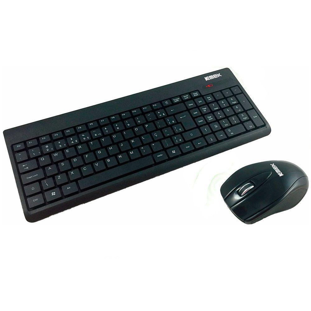 Combo Wireless Teclado E Mouse Preto Ka-0328+ma-p433 K-mex