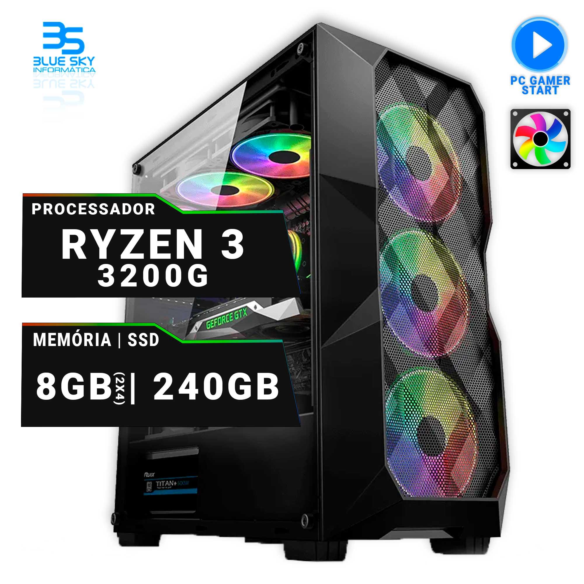 Computador Gamer AMD 3200G, SSD 240GB, 8GB(2x4) DDR4, 400W