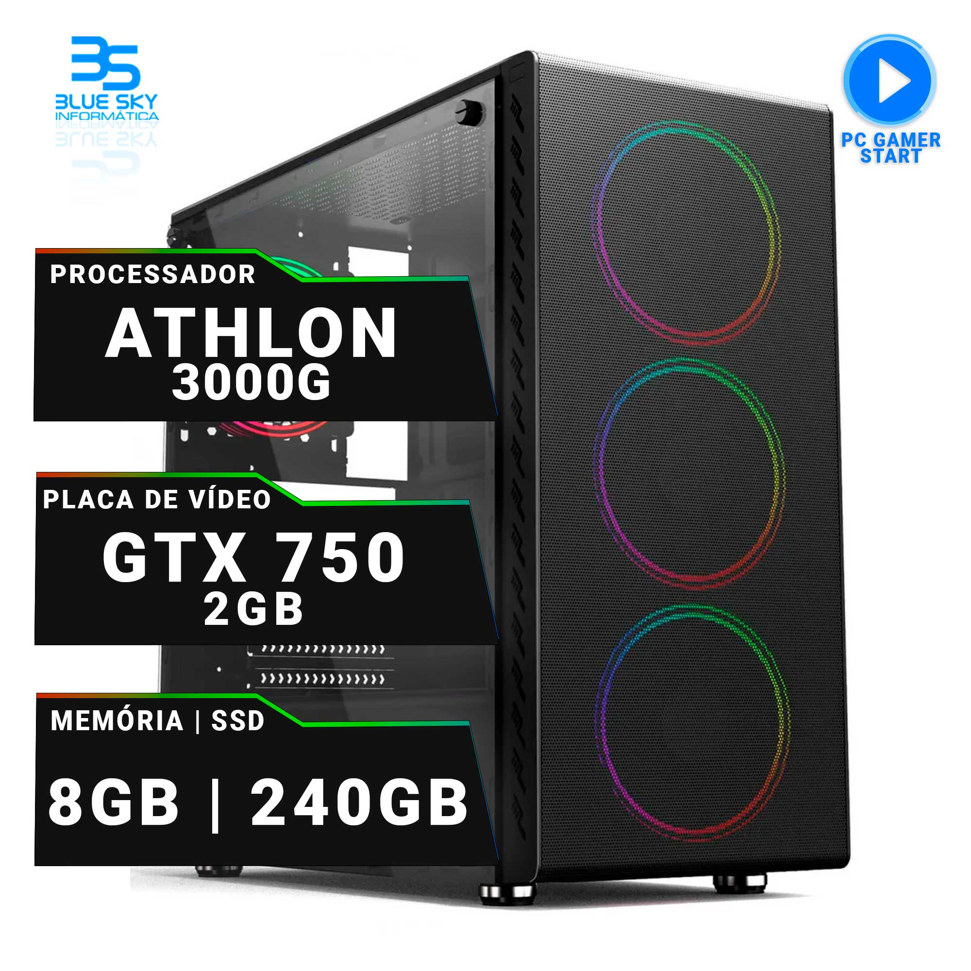 Computador Gamer AMD Athlon 3000G, SSD 240GB, 8GB DDR4, 400W, GTX 750 2GB