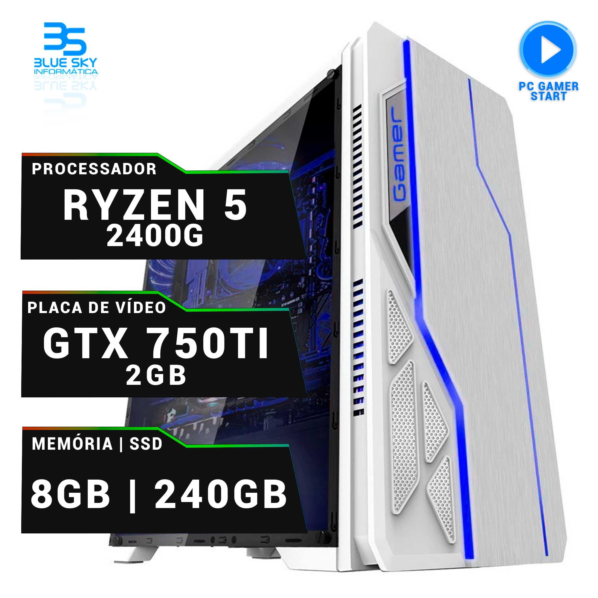 Computador Gamer AMD Ryzen 5 2400G, SSD 240GB, 8GB DDR4, 420W, GTX 750Ti 2GB oc