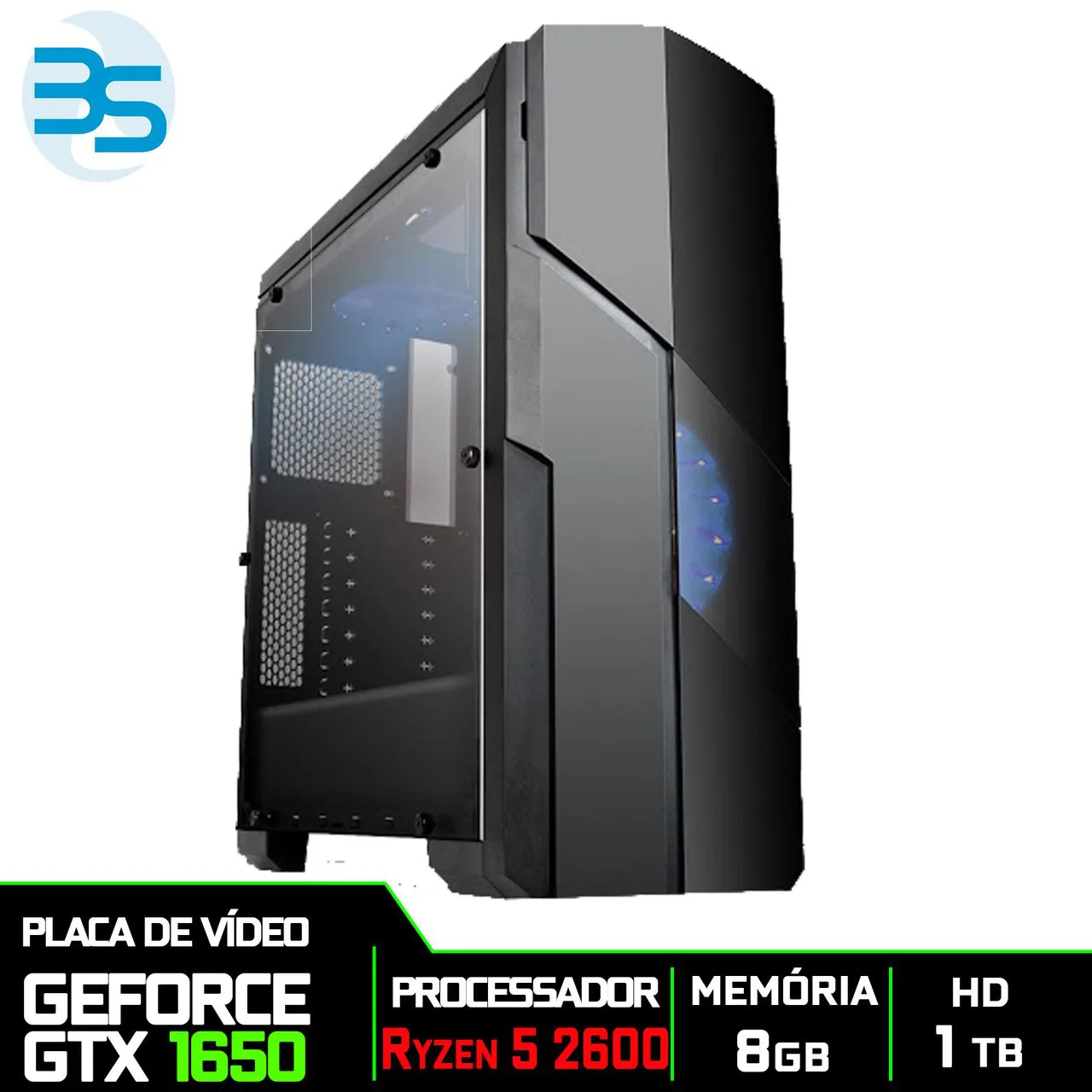 Computador Gamer AMD Ryzen 5 2600, HD 1TB, 8GB DDR4, 500W, GTX 1650 4GB