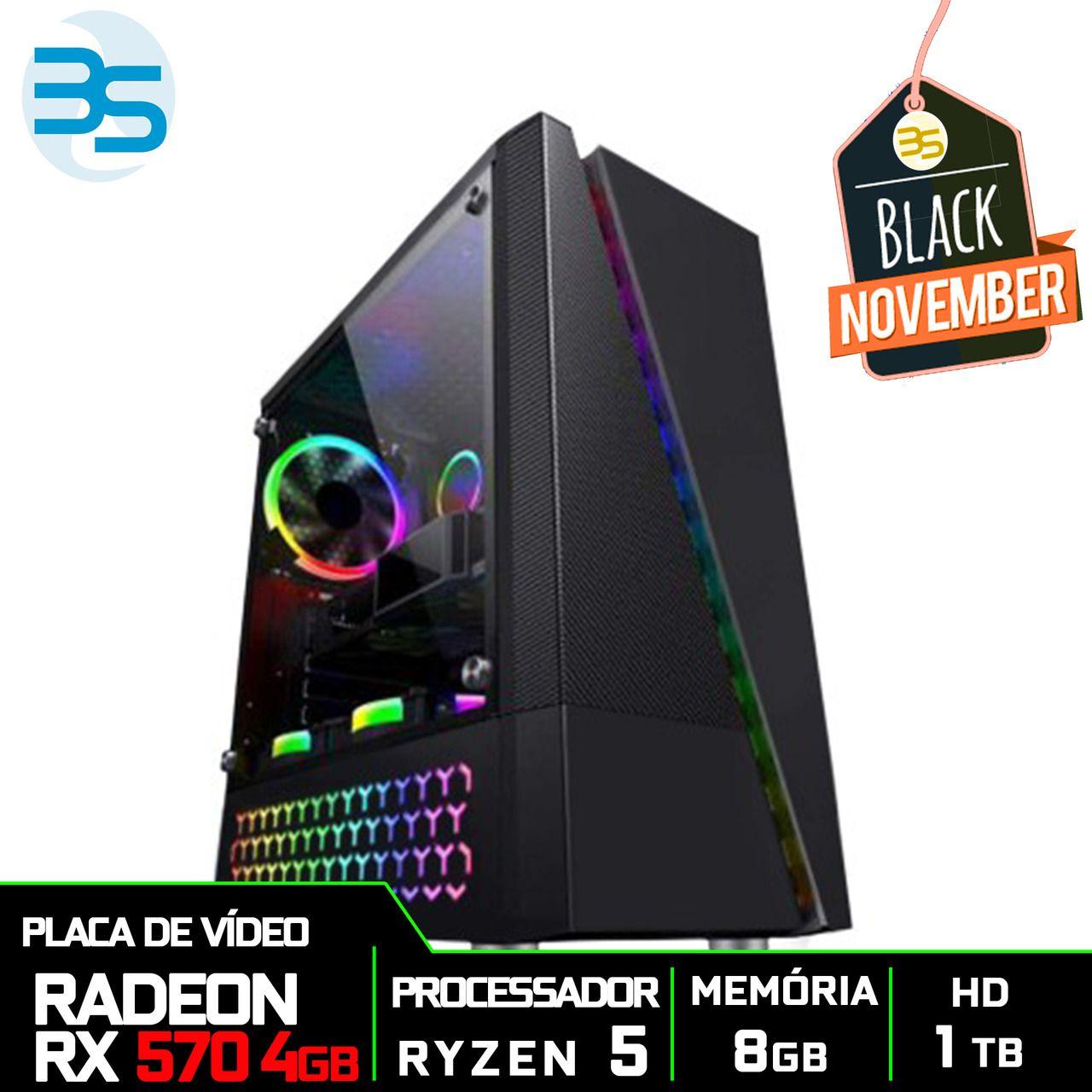 Computador Gamer AMD Ryzen 5 2600, HD 1TB, 8GB DDR4, 500W, RX 570 4GB