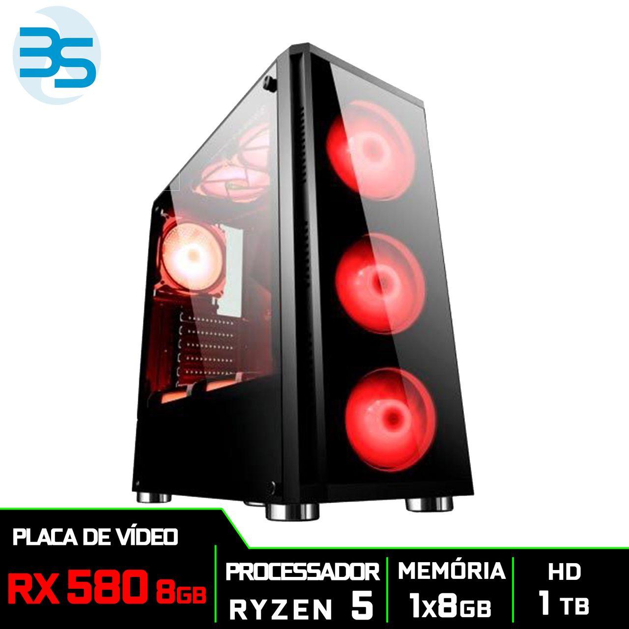 Computador Gamer AMD Ryzen 5 2600, HD 1TB, 8GB DDR4, 500W, RX 580 8GB
