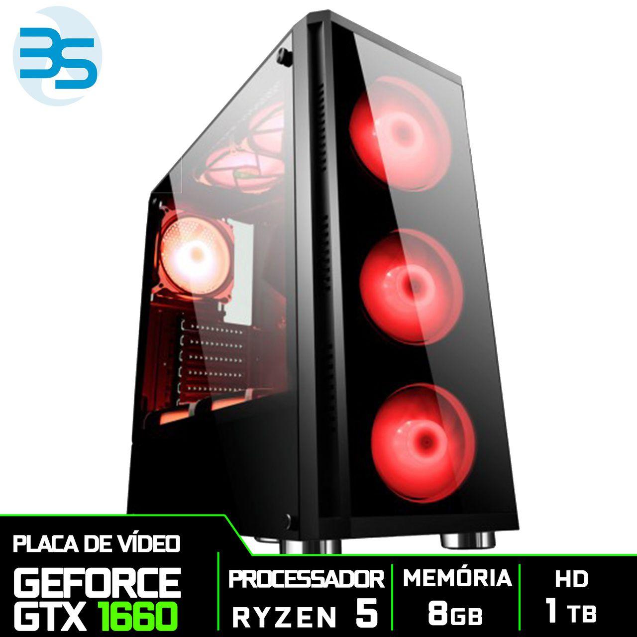 Computador Gamer AMD Ryzen 5 3600, HD 1TB, 8GB DDR4, 500W, GTX 1660 6GB