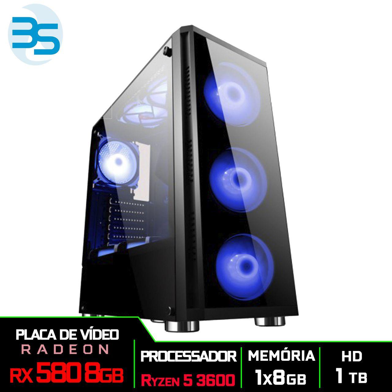 Computador Gamer AMD Ryzen 5 3600, HD 1TB, 8GB DDR4, 500W, RX 580 8GB