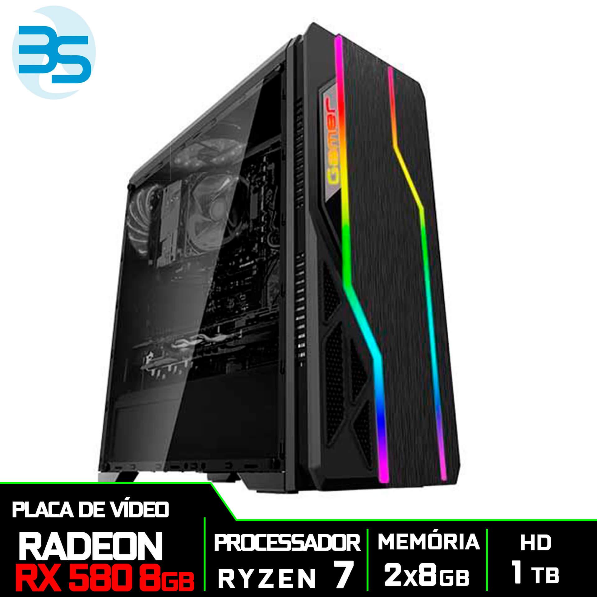 Computador Gamer AMD Ryzen 7 2700, HD 1TB, 16GB DDR4, 500W, RX 580 8GB