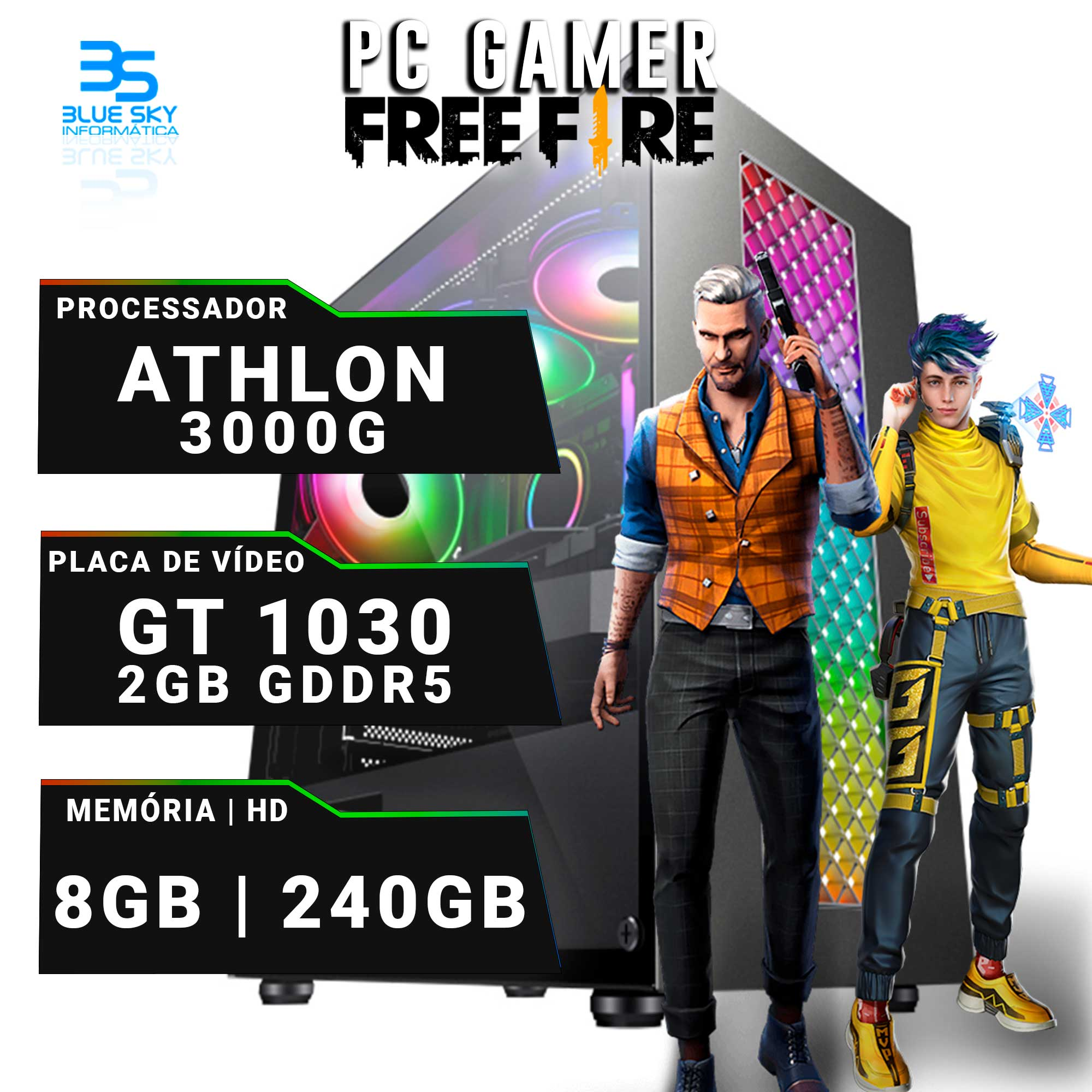 Computador Gamer Athlon 3000G, 8GB DDR4, GT 1030 2GB, SSD 240GB, 400W